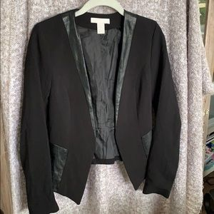 H&M Faux Leather Trim Blazer Sz 4 Black